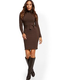 Button-Cuff Turtleneck Sweater Dress - 7th Avenue