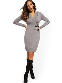 Double Buckle-Accent Sweater Sheath Dress - 7th Av