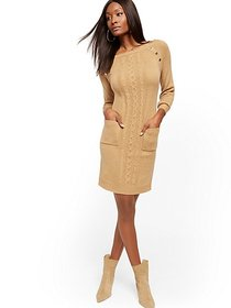 Button-Accent Cable-Knit Sheath Sweater Dress - Ne