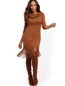 Fringed Convertible Cowl-Neck Sweater Dress - New