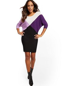 Colorblock Dolman Sweater Dress - New York & Compa