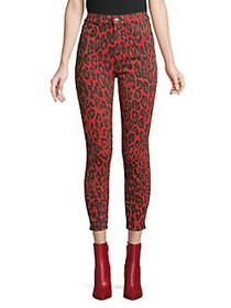 7 For All Mankind High-Rise Leopard-Print Cropped