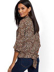 Leopard-Print Smocked Tie-Back Blouse - New York &