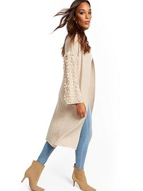 Fringe-Sleeve Duster Cardigan Sweater - New York &