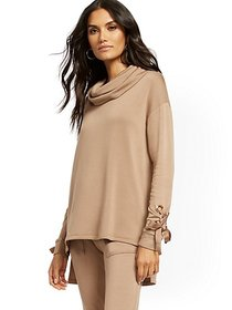 Dreamy Fleece Off-The-Shoulder Lace-Up Cuff Top -