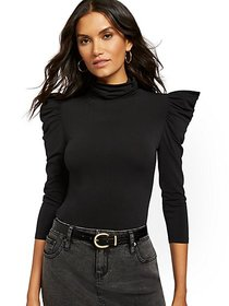 Black Puffed-Sleeve Turtleneck Top - New York & Co
