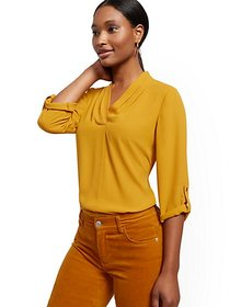 Pleated V-Neck Blouse - New York & Company