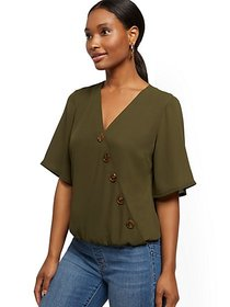Button-Accent Wrap Blouse - New York & Company