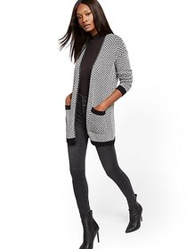 Faux-Leather Trim Open-Front Cardigan - New York &