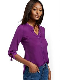 Split-Neck Shirt - Soho Soft Blouse - New York & C