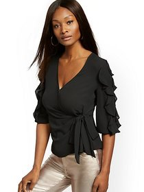 Black Ruffled Tie-Front Blouse - New York & Compan