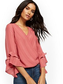 Flare-Sleeve V-Neck Wrap Blouse - New York & Compa