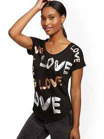 "Metallic Foil ""Love"" Graphic Tee - New York & Comp"
