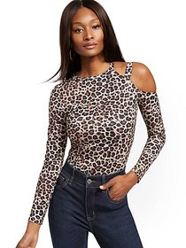 Leopard-Print One-Shoulder Manhattan Tee - New Yor
