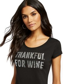 "Black ""Thankful for Wine"" Graphic Tee - New York &"