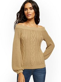 Off-The-Shoulder Cable-Knit Sweater - New York & C