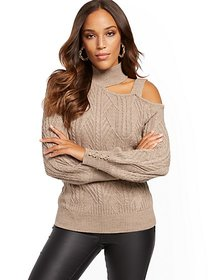 Mock-Neck Cold-Shoulder Sweater - New York & Compa