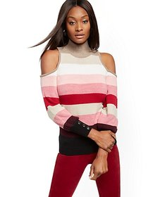 Stripe Mock-Neck Cold-Shoulder Sweater - New York