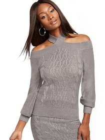 Grey Twist-Front Cable-Knit Sweater - New York & C