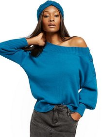 Button-Accent Puff-Sleeve Sweater - New York & Com