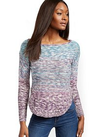 Ombre Bateau-Neck Sweater - New York & Company