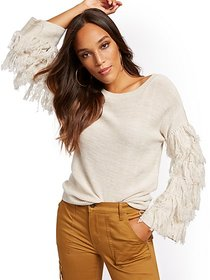 Fringed Boatneck Sweater - New York & Company