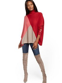 Colorblock Button-Accent Turtleneck Dolman Sweater