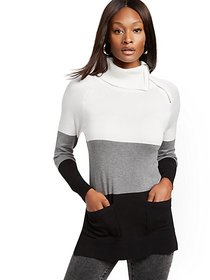 Colorblock Zip-Accent Cowl-Neck Tunic Sweater - Ne