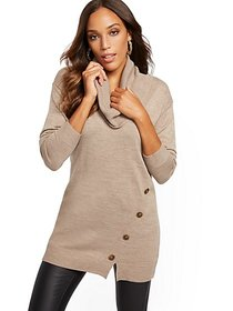 Button-Accent Cowl-Neck Tunic Sweater - New York &