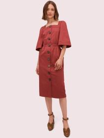 button front sateen dress