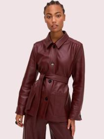 leather tie waist jacket