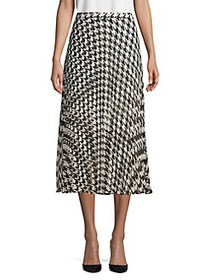 Vince Camuto Houndstooth Pleated Skirt RICH BLACK