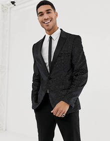ASOS DESIGN super skinny tuxedo blazer in black ve