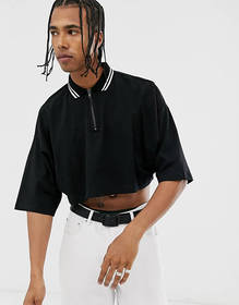 ASOS DESIGN cropped oversized polo shirt with half