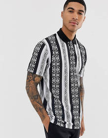 ASOS DESIGN relaxed polo with all over tile print