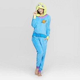 Women's Space Aliens Union Pajama Suit - Blue