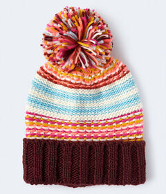 Aeropostale Striped Pom Beanie