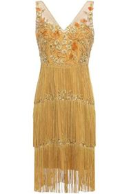 MARCHESA NOTTE Fringed beaded embroidered tulle dr