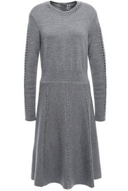 LELA ROSE Open knit-trimmed mélange wool-blend dre