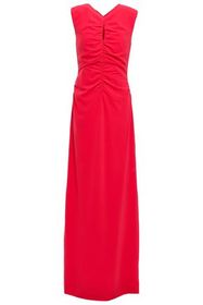 HALSTON HERITAGE Ruched stretch-crepe gown