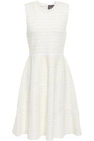LELA ROSE Crochet-trimmed bouclé-knit dress