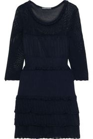 ALBERTA FERRETTI Tiered pointelle-knit cotton mini