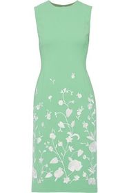 OSCAR DE LA RENTA Embroidered wool-blend dress