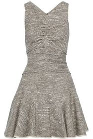 HALSTON HERITAGE Fluted ruched bouclé-tweed mini d