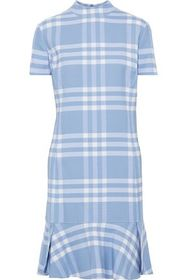 OSCAR DE LA RENTA Checked wool-blend mini dress