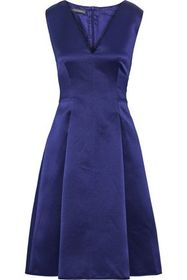 ALBERTA FERRETTI Pleated silk-satin dress