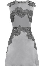 ALBERTA FERRETTI Lace-appliquéd silk-satin mini dr