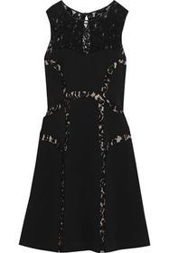 ALBERTA FERRETTI Corded lace-paneled ponte dress