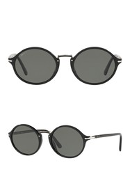 Persol 53mm Polarized Round Sunglasses