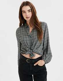 American Eagle AE Plaid Tie Front Button Up Shirt